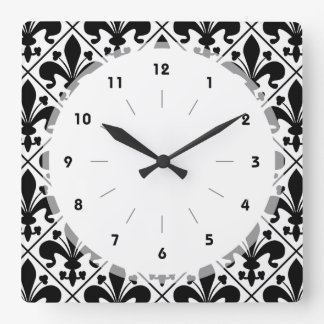 Chic Black and White Fleur de Lis Square Wall Clock