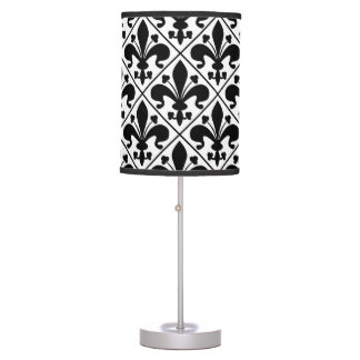 Chic Black and White Fleur de Lis Table Lamp