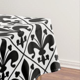 Chic Black and White Fleur de Lis Tablecloth
