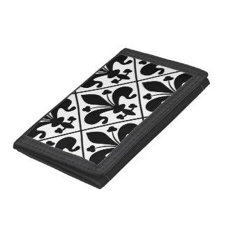 Chic Black and White Fleur de Lis Trifold Wallet