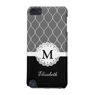 Chic Black and White Lace Pattern Custom Monogram iPod Touch (5th Generation) Cover