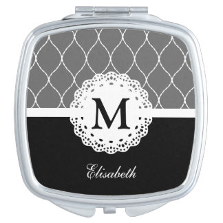 Chic Black and White Lace Pattern Custom Monogram Compact Mirror