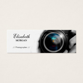 Chic Black and White Photographer Camera Lens Mini Business Card