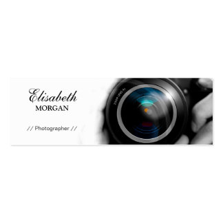 Chic Black and White Photographer Camera Lens Pack Of Skinny Business Cards