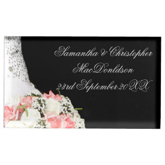 Chic black and white pink rose wedding table card holders