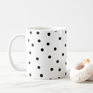 Chic Black and White Polka Dot Work Mom Coffee Mug