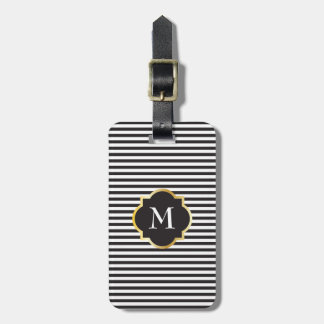 Chic Black and White Stripe Gold Monogram Luggage Tag