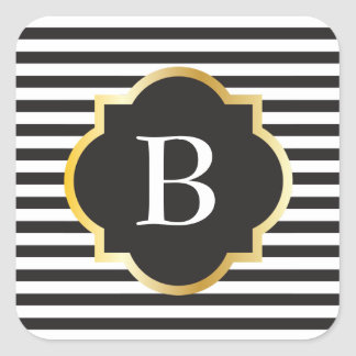 Chic Black and White Stripe Gold Monogram Square Sticker