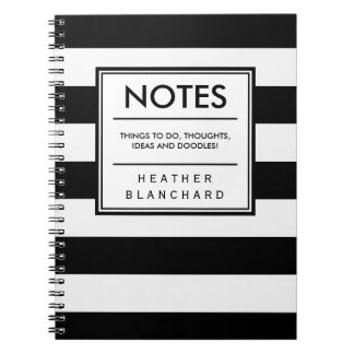 Chic Black and White Stripes Spiral Note Books