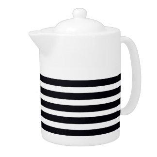 Chic Black and White Stripes Tea pots