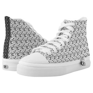 Chic Black and White Victorian Swirls Pattern High Tops