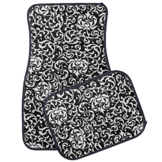 Chic Black and White Vintage Floral Pattern Auto Mat