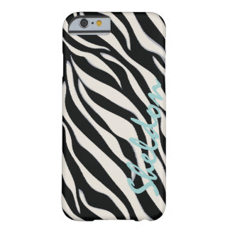 Chic black and white zebra print monogram barely there iPhone 6 case