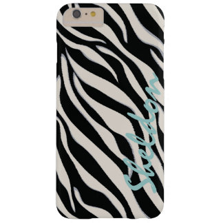 Chic black and white zebra print monogram barely there iPhone 6 plus case
