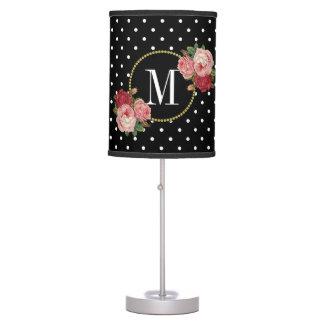 Chic Black Antique Rose Polka Dots Floral Monogram Table Lamp
