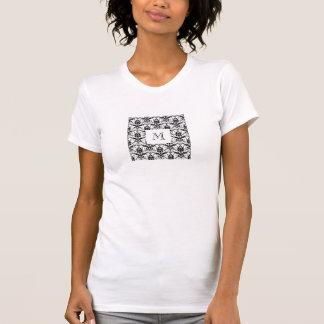Chic Black Damask Pattern Custom Initial Monogram Tee Shirts