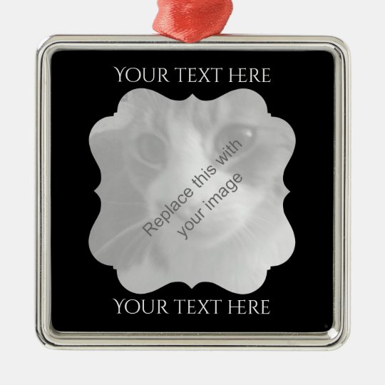 Chic black frame for pets or people Silver-Colored square ornament