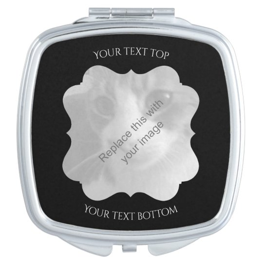 Chic black frame for your photo compact mirror