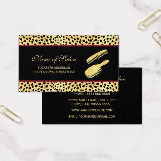 Chic Black Gold Cheetah Print Hairstylist Salon Business Card
