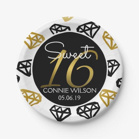 Chic Black & Gold Diamond 16th Birthday Custom 7 Inch Paper Plate