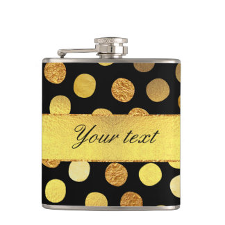 Chic Black Gold Foil Confetti Dots Hip Flask