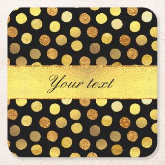 Chic Black Gold Foil Confetti Dots Square Paper Coaster