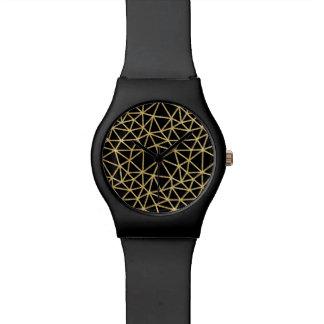 Chic Black Gold Glitter Stripe Geometric Pattern Watch