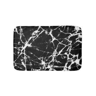 Chic Black Marble Texture White Grain Accent Bathroom Mat