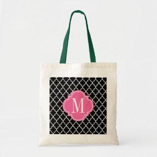 Chic Black Moroccan Lattice Personalized Tote Bag