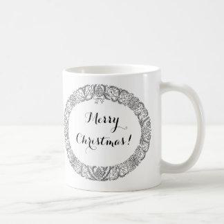 Chic Black on White Christmas Wreath to Customize Coffee Mug