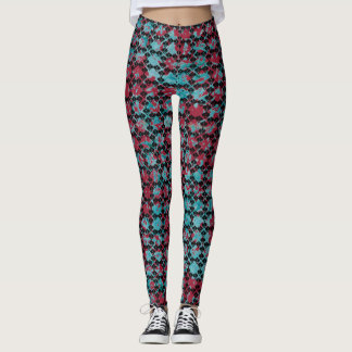 Chic Black Pattern Attack on Burgundy! Leggings