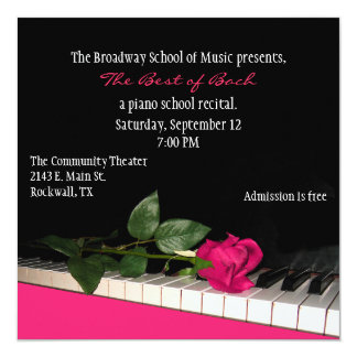 Chic Black & Pink Custom Piano Recital Invitation