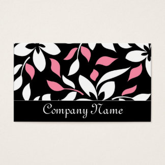 Chic Black/Pink & White Floral Business Cards
