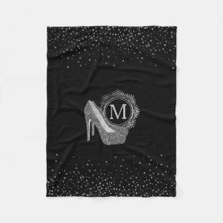 Chic Black Silver Glitter High Heel Shoes Monogram Fleece Blanket