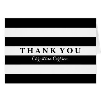 Chic Black Stripe Thank You Card