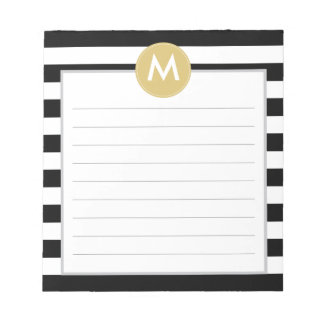 Chic Black Stripes Monogram Pad