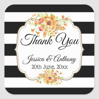 "Chic Black Stripes ""Thank you"" Wedding Sticker"