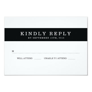 "Chic Black Stripes Wedding RSVP 3.5"" X 5"" Invitation Card"