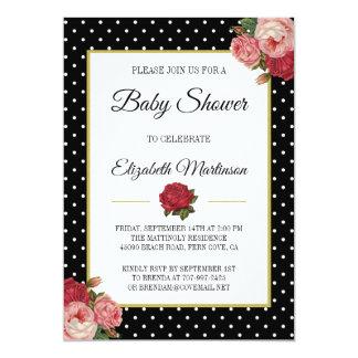 Chic Black Vintage Floral Polka Dots Baby Shower Card