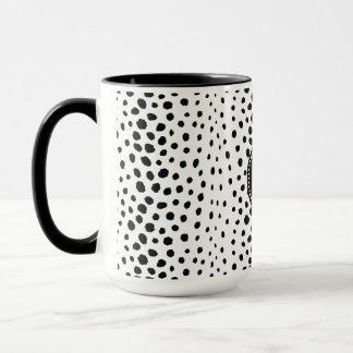 Chic black white cheetah print pattern monogram mug