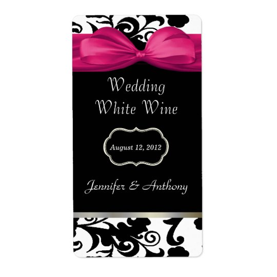 Chic Black & White Damask Wedding Wine Labels