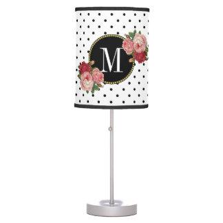 Chic Black White Dots Antique Rose Floral Monogram Table Lamp
