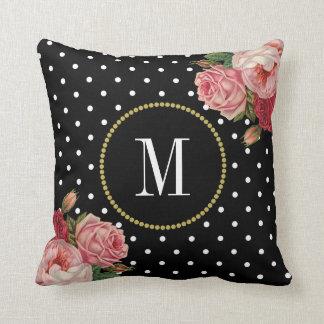Chic Black White Dots Vintage Floral Monogram Throw Pillow