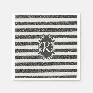 Chic black white faux glitter stripes monogram paper napkins