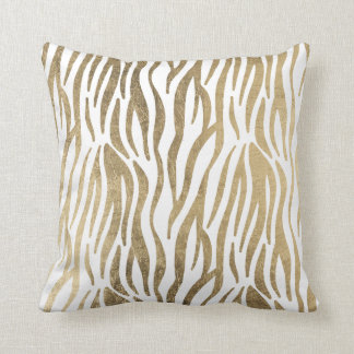 Chic black white faux gold zebra animal print throw pillow