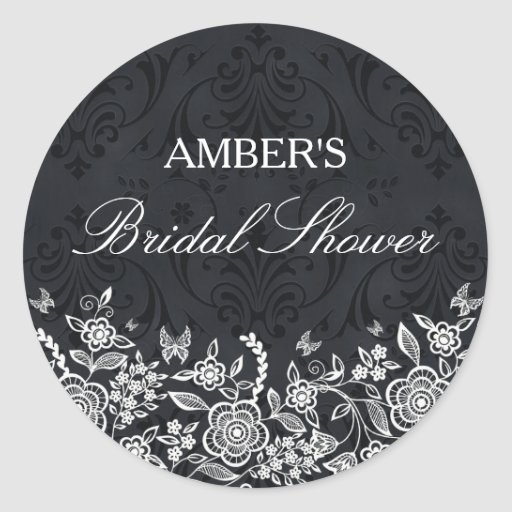 Chic Black & White Floral Bridal Shower Sticker