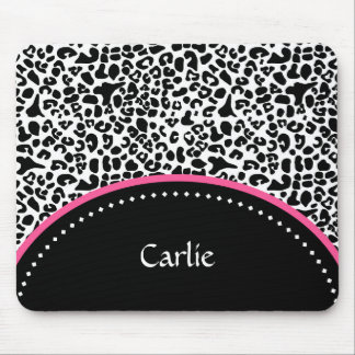 Chic Black White Leopard Print Pink Accent Name Mouse Pad