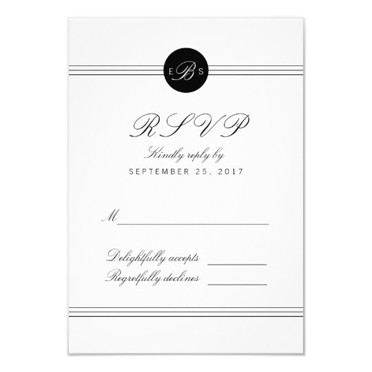 Chic Black White Monogram Response RSVP Card