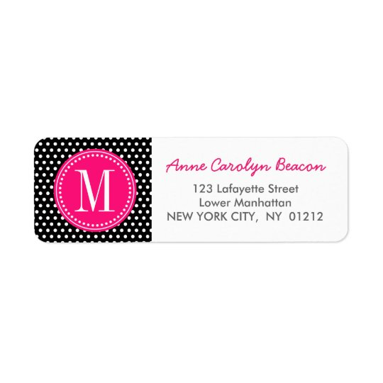 Chic Black White Polka Dots Hot Pink Personalized