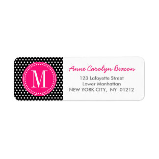 Chic Black White Polka Dots Hot Pink Personalized Return Address Label